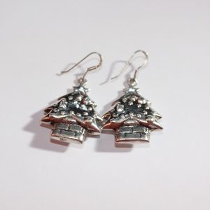 Jewelry - Christmas tree earrings in sterling silver